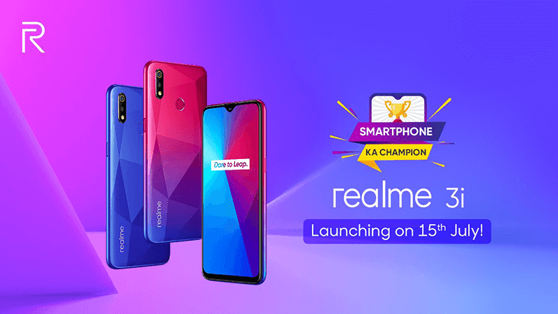 Realme 3i shows diamond-cut back and Helio P60, to launch on July 15
