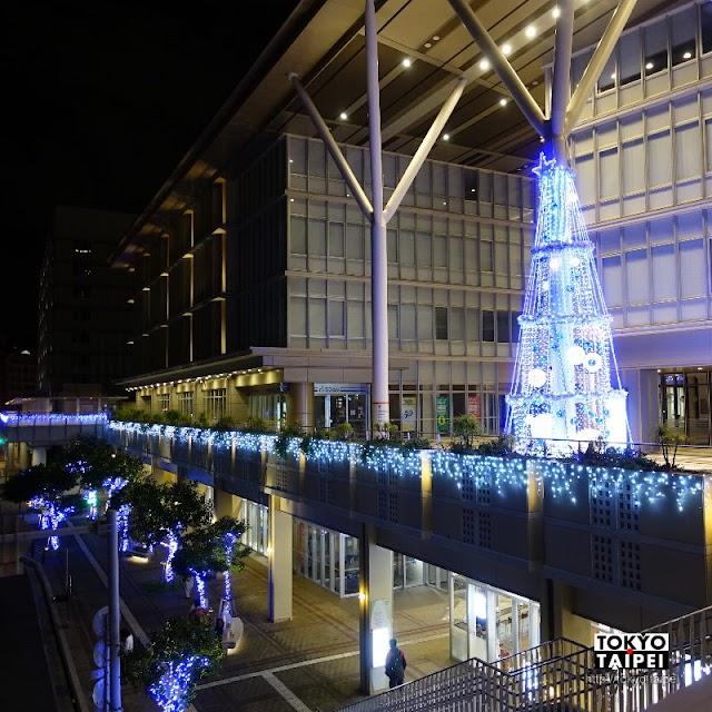 【Kafuna旭橋Illumination】用燈泡和光球 把柱子變成聖誕樹
