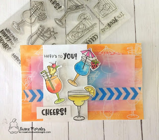 Cheers! a card by Diane Morales| Cocktail Mixer Stamp Set by Newtons Nook Designs