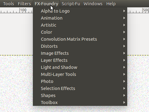 how to open the menu on gimp