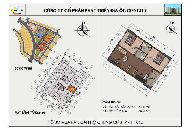 sơ đồ căn hộ chung cư B1.4 căn 08 tòa HH01B