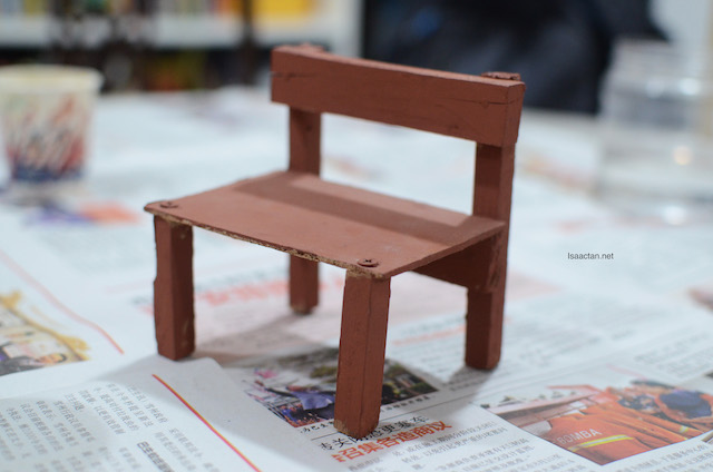 Martin's school project, a wooden chair