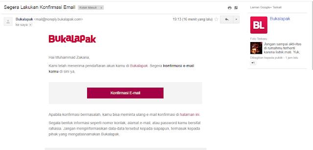 Cara Konfirmasi email dari bukalapak