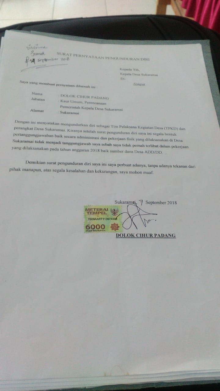 Pengunduran Diri Ketua Tpkd Jut 2018 Dusun Pettal Menuai Tanggapan Negatif Dari Masyarakat Penegak Hukum Diminta Tegas Memeriksa Anggaran Desa Sukaramai Metrokampung Com