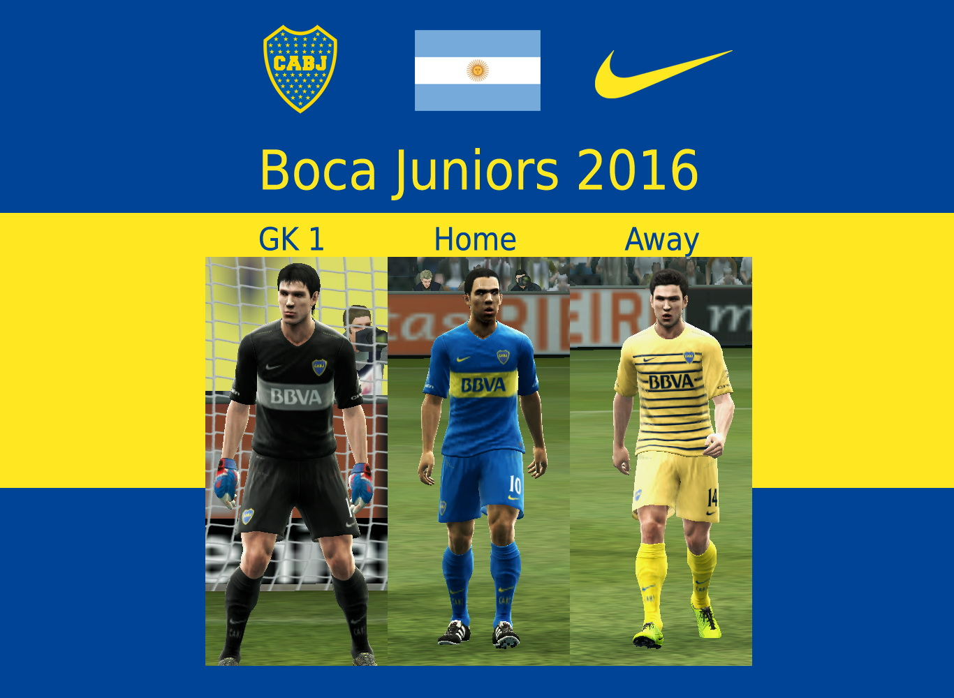 PES-MODIF: PES 2016 Boca Juniors 2016 Kits Update 1 By