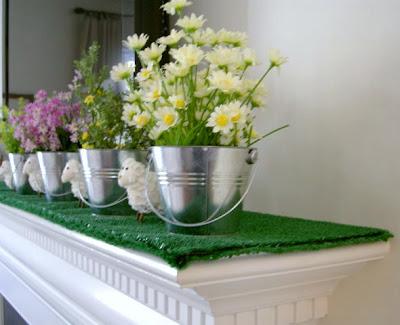 turf, flowers, lambs, spring, mantel