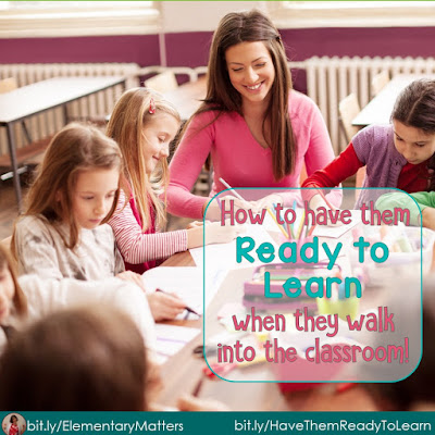 How to Have Them Ready to Learn When They Walk Into the Classroom: Here's a little trick I learned that can be used with any age group. It's great for Open House nights, too!