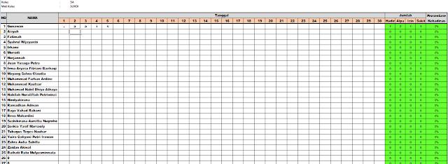 gambar format daftar hadir siswa kurikulum 2013
