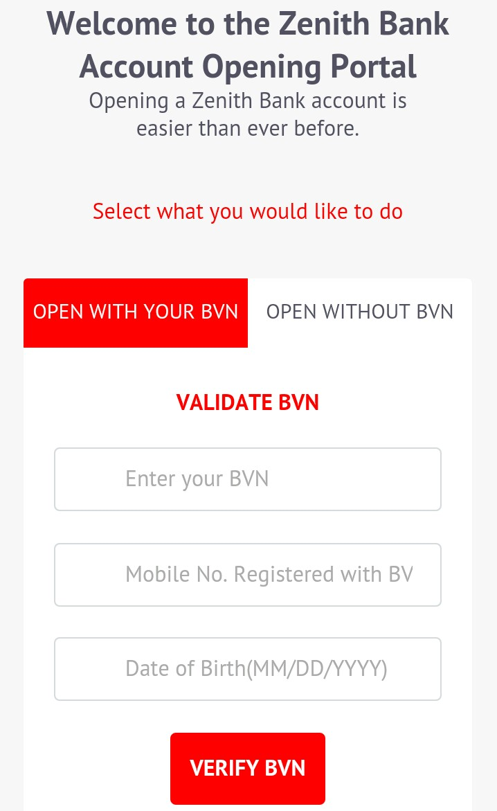 zenith bank account opening forms