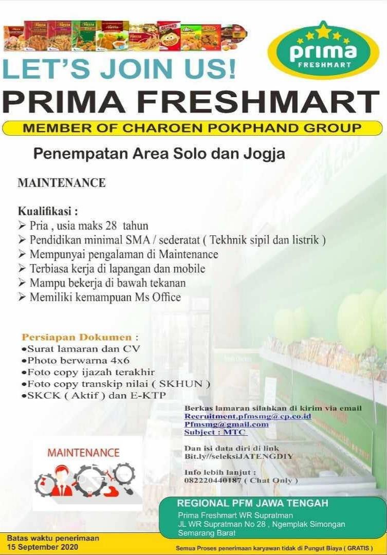 PT Primafood International ( Prima Freshmart )  Buka lowongan untuk Posisi Maintenance (Area Solo-Jogja)