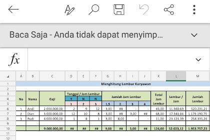 Aplikasi Excel Hitung Jam Kerja