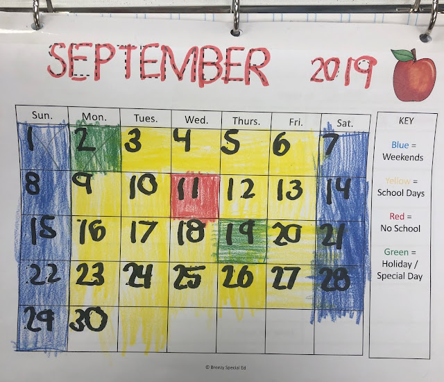 Color Coded Calendar Visuals - Breezy Special Ed