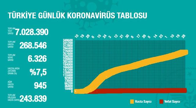 Koronavirüs 30 Ağustos 2020 Türkiye verileri tablosu