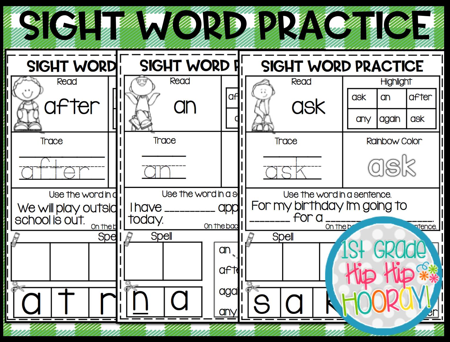 1st Grade Hip Hip Hooray 1st Grade Sight Word Practice