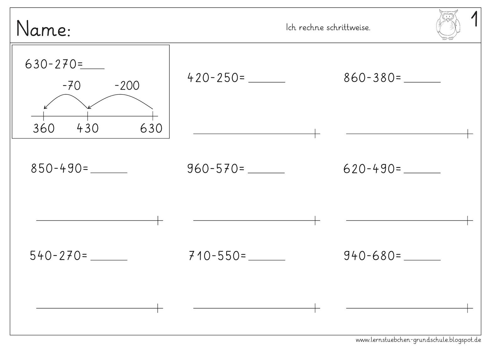 Lernstubchen Subtrahieren Von Gro En Zahlen Am Rechenstrich