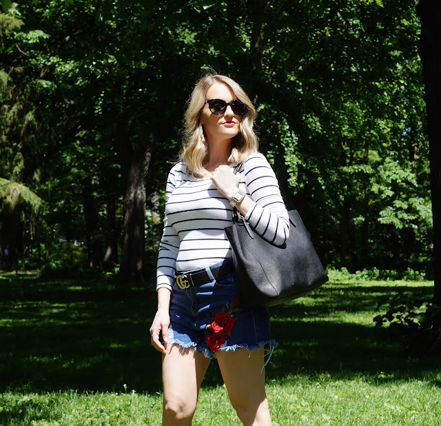 chicago blogger shein embroidered rose stripes