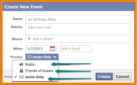 how to make an facebook event private