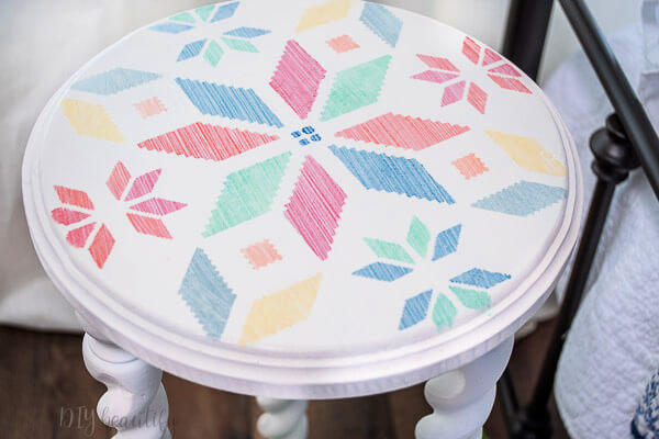 DIY side table with stenciled top