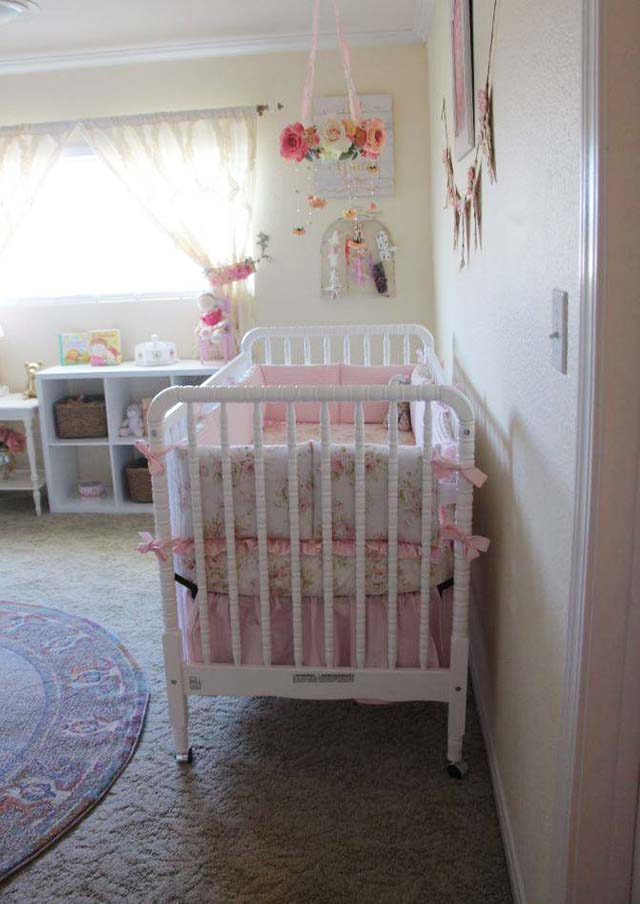 davinci jenny lind 3in1 convertible crib shabby chenille crib bumper pink floral crib sheet solid pink crib skirt gathered flower mobile made by