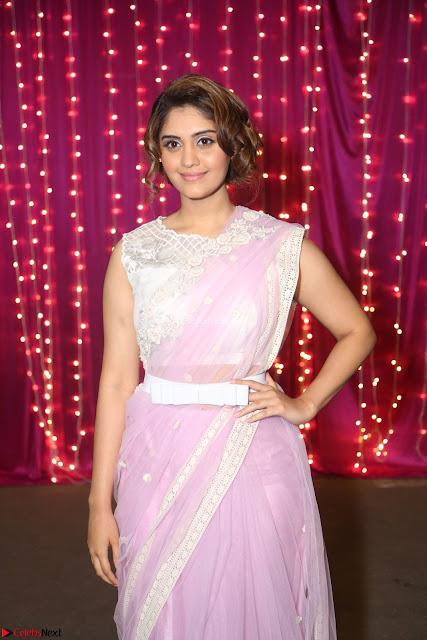 Surabhi in Designer Pink Saree and White Sleeveless Choli at Zee Telugu Apsara Awards 2017 03.JPG
