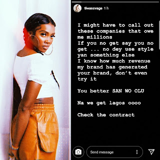 "Tiwa Savage called out Companies Owing her ""millions"""