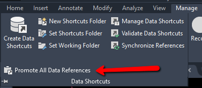 Promote all data references in Autodesk Civil 3D