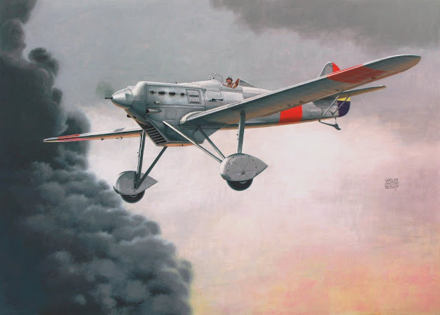 Dewoitine D.510 por Carlos Alonso Aviation Art