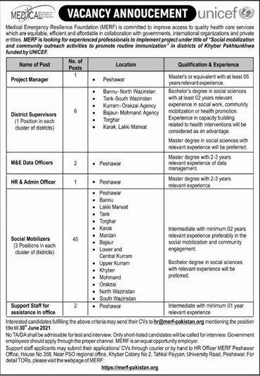 JOBS | Medical Emergency Resilience Foundation (MERF) Unicef