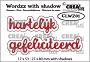 """Stansen """"hartelijk gefeliciteerd"""" met bijpassende schaduw. Die-cutting """"Happy Birthday"""" (Dutch words) with matching shadow."""
