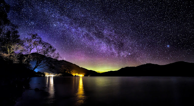 The Milky Way and an Aurora over Loch Lomond, Scotland