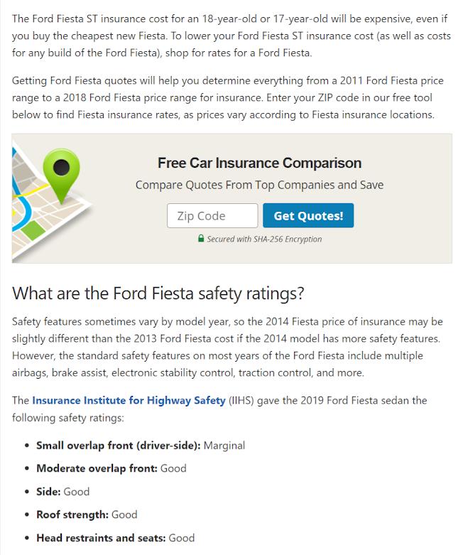 Fiesta ST Insurance 18Year Old