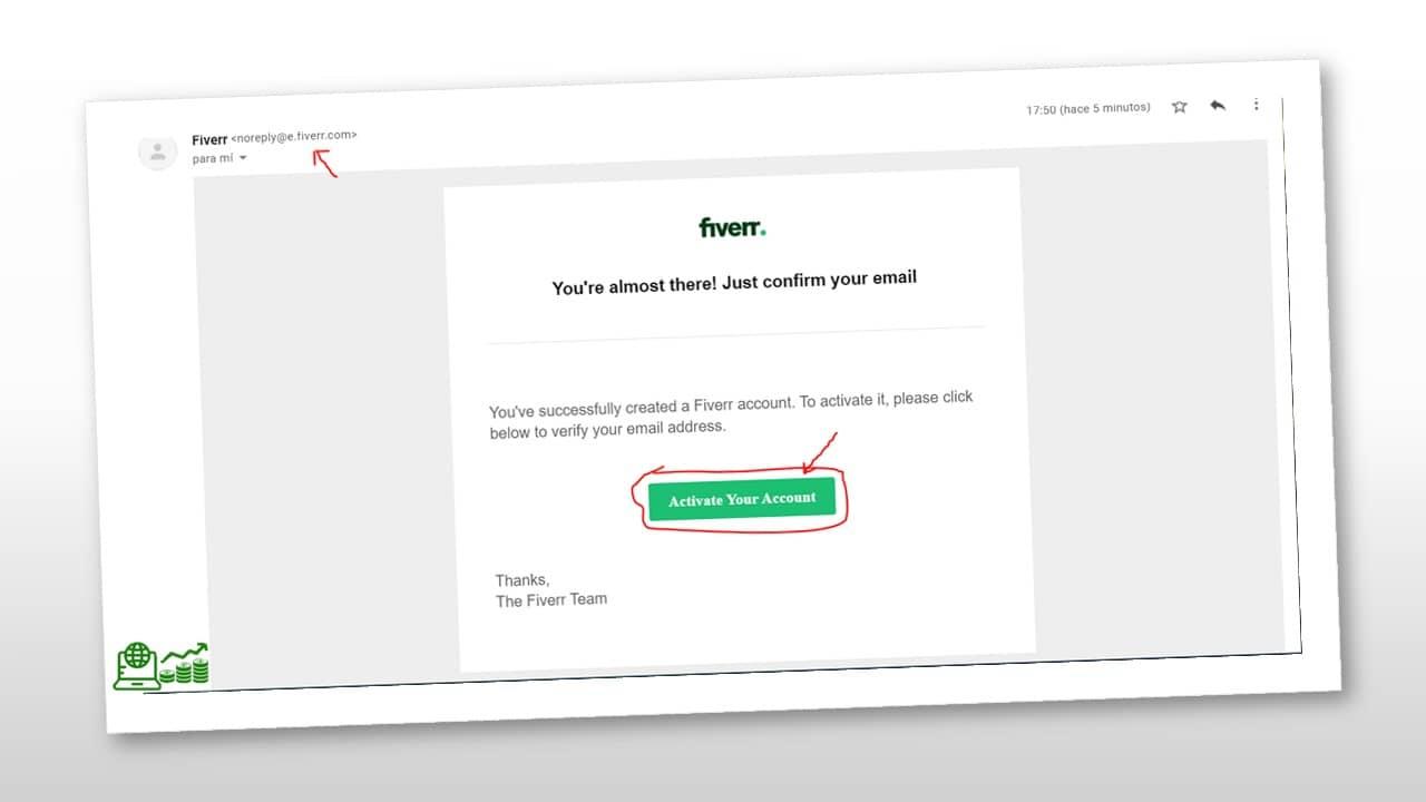 correo de activación de cuenta de Fiverr