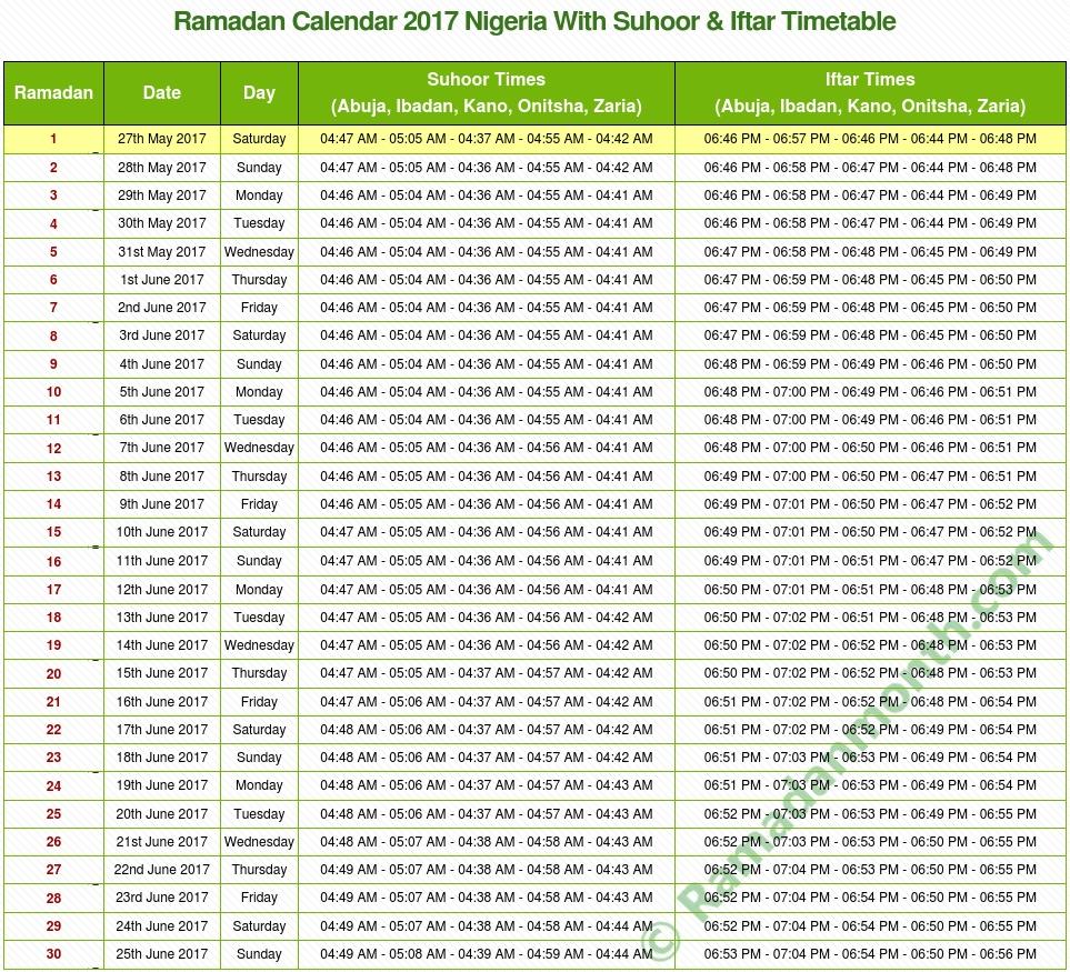 Ramadan calendar 2018 Nigeria