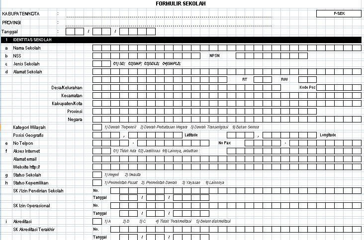 Download Formulir Data Sekolah Tahun 2016-2017 Format Microsoft Excel