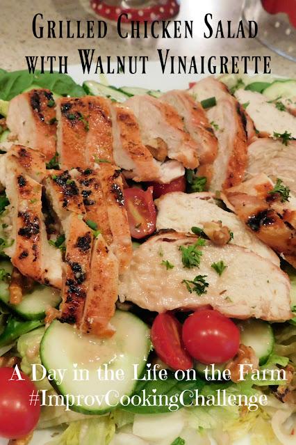 Grilled Chicken Salad with Walnut Vinaigrette pin