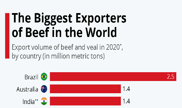 The Biggest Exporters of Beef in the World #infographic