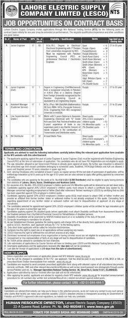 LESCO Jobs 2019 Lahore Electric Supply Company-900+ Positions