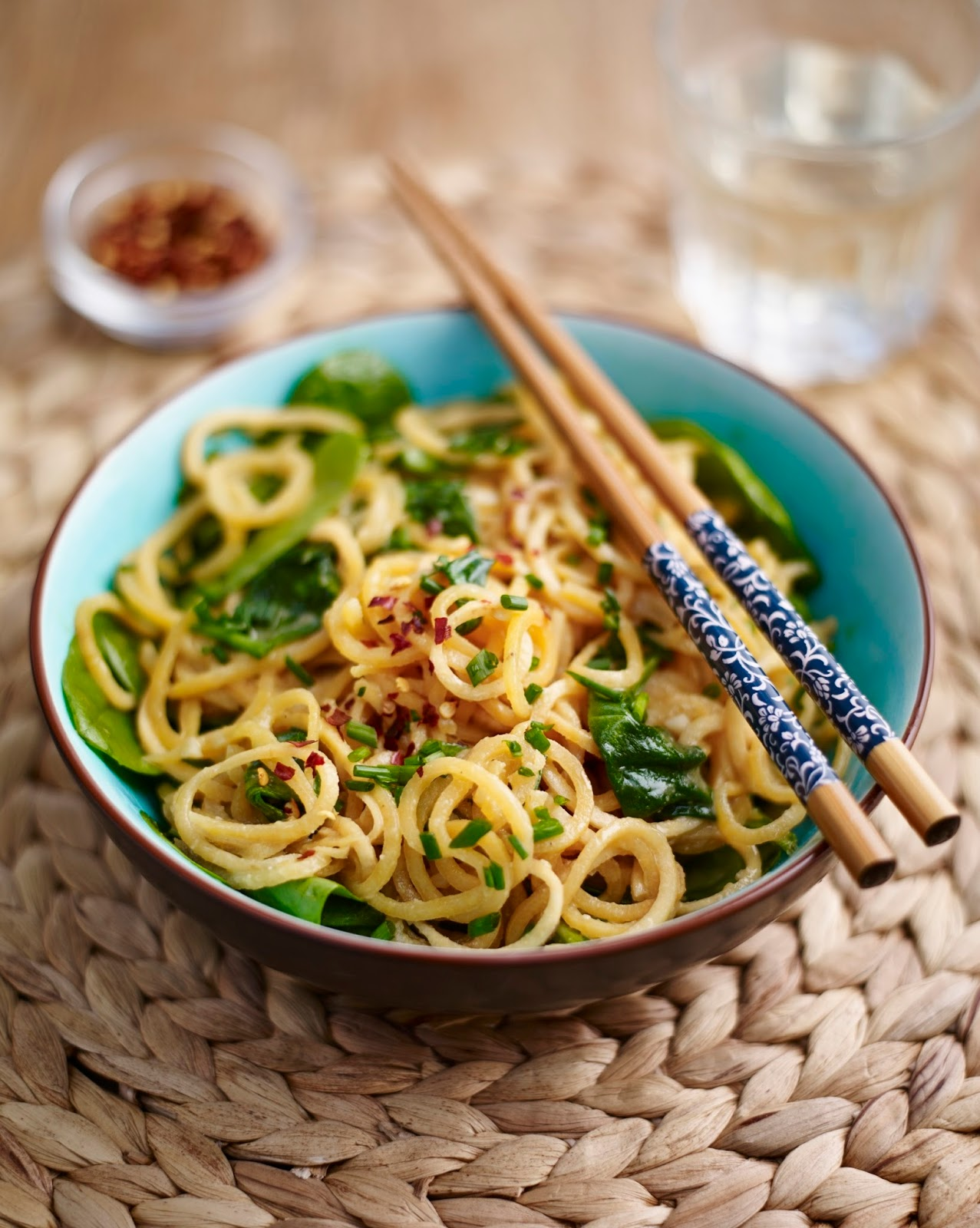 Sweet Potato Noodles with Cashew Butter And Spinach