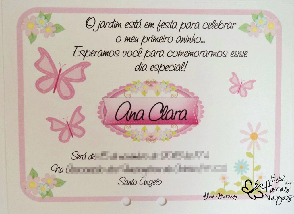 convite artesanal jardim encantado borboletas floral rosa aniversário infantil