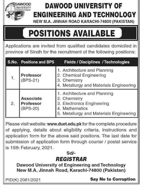 dawood-university-of-engineering-technology-jobs-2021-application-form