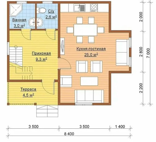 The layout of the house, the area of which includes a terrace