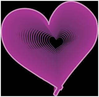 Violetti sydän joka ääriviivoituu sisäänpäin, kunnes on jäljellä pienempi sydän
