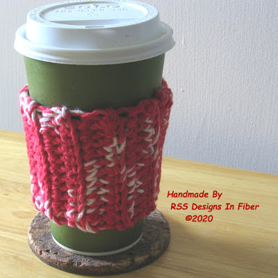 Handmade Reusable Cup Cozies in Red and White - Handmade By Ruth Sandra Sperling of RSS Designs In Fiber