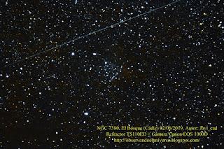 Cumulo abierto y Nebulosa NGC 7380, ha pasado un satélite en la toma