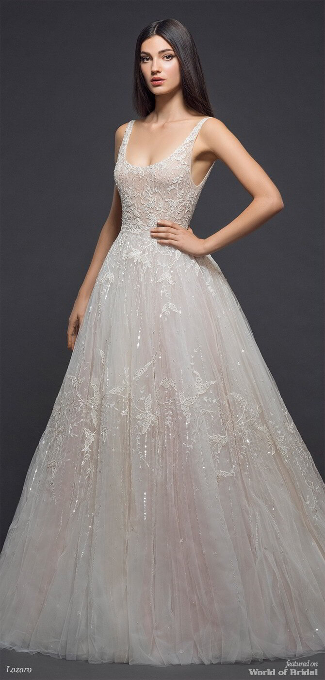 embroidered wedding dress lazaro 2018 bridal collection world of bridal 3892