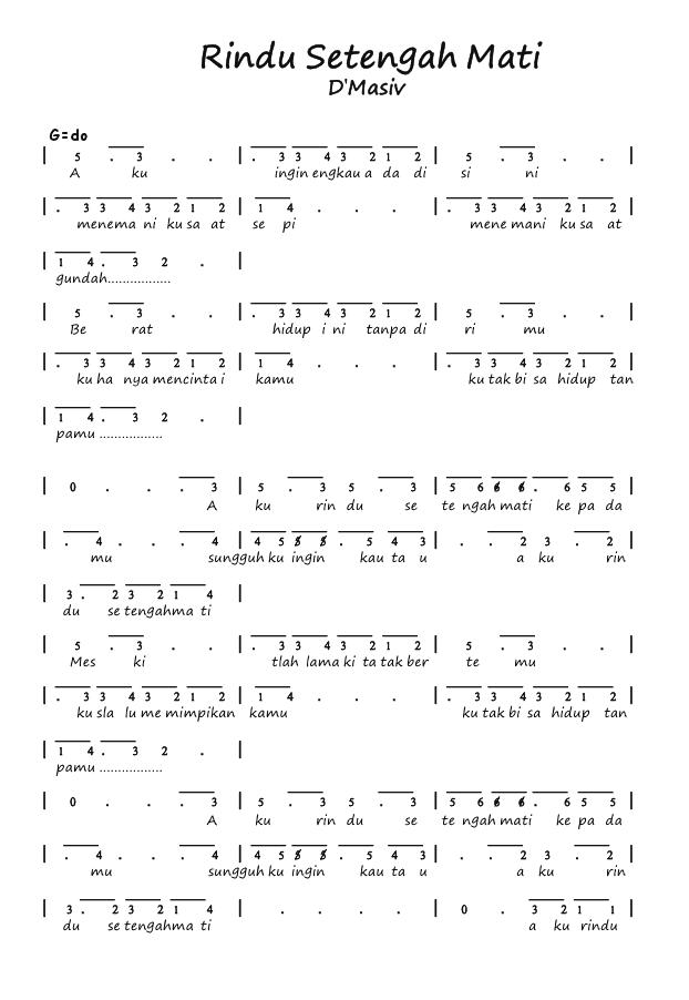D\'masiv Rindu Setengah Mati chords in guitar tablature format