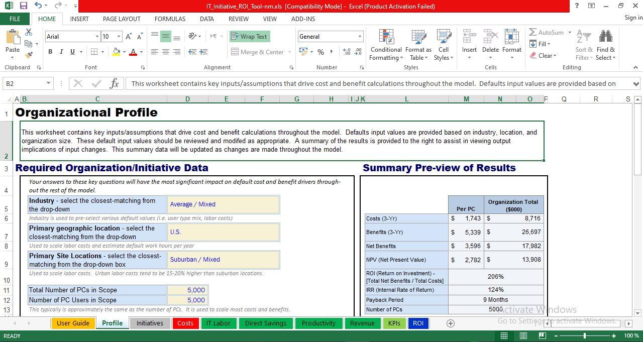 Organizational Profile worksheet
