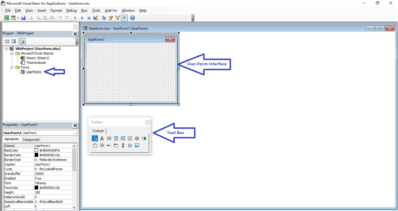 Tutorial 3 एक्सेल VBA यूजर फॉर्म Part 1 | Excel VBA userform | VBA Userform Properties | excel data entry form vba |