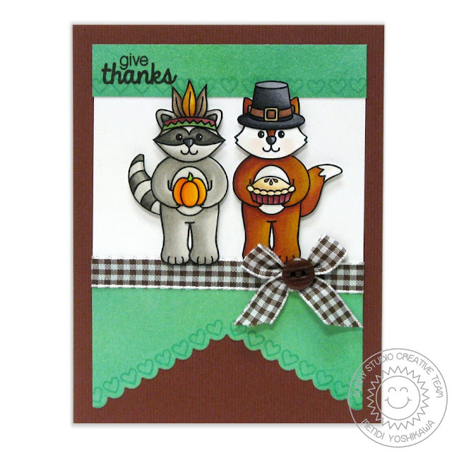 Sunny Studio Stamps: Woodsy Creatures Thanksgiving Pilgrim & Indian Card by Mendi Yoshikawa