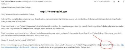 email penerimaan mahasiswa